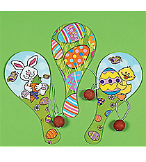 12 Easter Wooden Paddleball Games #12/12090