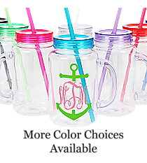 Anchor Monogram Clear 20 oz. Mason Jar with Lid & Straw #WACD002BD-CL *Choose Your Colors