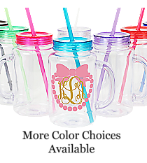 Bow with Pearls Monogram Clear 20 oz. Mason Jar with Lid & Straw #WACD002BD-CL *Choose Your Colors