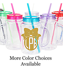 Bow Monogram Clear 20 oz. Mason Jar with Lid & Straw #WACD002BD-CL *Choose Your Colors