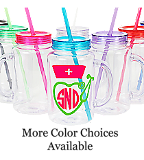 Nurse Monogram Clear 20 oz. Mason Jar with Lid & Straw #WACD002BD-CL *Choose Your Colors