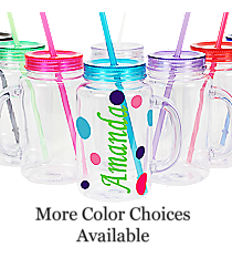 Sideways Name Clear 20 oz. Mason Jar with Lid & Straw #WACD002BD-CL *Choose Your Colors