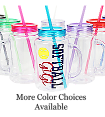 Softball Clear 20 oz. Mason Jar with Lid & Straw #WACD002BD-CL *Choose Your Colors