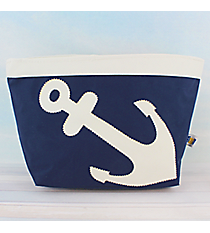 Nautical Blue Nylon Pouch with White Anchor #20058-BLUE/WHITE