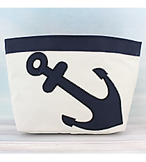 White Nylon Pouch with Nautical Blue Anchor #20058-WHITE/BLUE