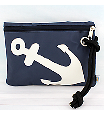 Nautical Blue Nylon Wristlet Pouch with White Anchor #20059-BLUE/WHITE