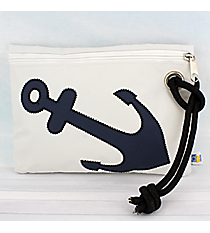 White Nylon Wristlet Pouch with Nautical Blue Anchor #20059-WHITE/BLUE