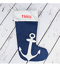 Nautical Blue Nylon Stocking with White Anchor and Trim #20061-BLUE/WHITE