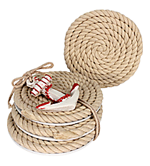 Set of 4 Nautical Rope Coasters #20122-RED