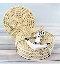 Set of 4 Nautical Rope Coasters with Anchor #20236-NAVY