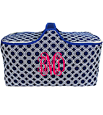 Nautical Blue Circles Insulated Basket with Lid #20292-CIRCLES