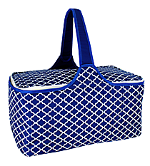 Nautical Blue Moroccan Insulated Basket with Lid #20292-MOROCCAN