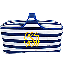 Nautical Blue Stripes Insulated Basket with Lid #20292-STRIPES