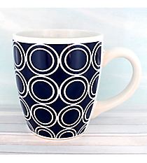 Nautical Blue Circles 20oz Jumbo Stoneware Mug #20298-CIRCLES