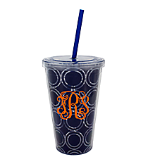 Nautical Blue Circles 18 oz. Double Wall Tumbler with Straw #20299-CIRCLES
