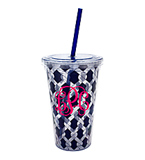 Nautical Blue Ropes 18 oz. Double Wall Tumbler with Straw #20299-ROPES