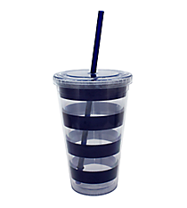 Nautical Blue Stripes 18 oz. Double Wall Tumbler with Straw #20299-STRIPES
