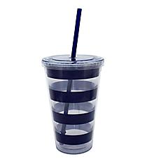 Nautical Blue Stripes 18 oz. Double Wall Tumbler with Straw #20299-STRIPES