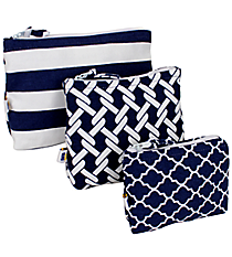 Nautical Blue Stripes, Ropes, & Moroccan 3-Piece Pouch Set #20310