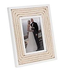 "White Wood and Rope 4"" x 6"" Photo Frame #20332"