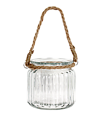 Nautical Rope Handle Glass Jar #20342