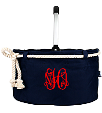 Navy Blue Nautical Rope Collapsible Market Basket #20160-NAVY