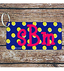 Royal Blue with Yellow Polka Dots Metal Keychain #KC-2187