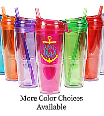 Anchor Monogram 22 oz. Double Wall Travel Tumbler with Straw #WA334010 *Choose Your Colors