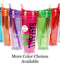 Baseball 22 oz. Double Wall Travel Tumbler with Straw #WA334010-2 *Choose Your Colors