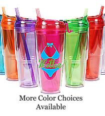 Bikini with Name 22 oz. Double Wall Travel Tumbler with Straw #WA334010-2 *Choose Your Colors