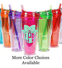Bow Monogram 22 oz. Double Wall Travel Tumbler with Straw #WA334010-2 *Choose Your Colors