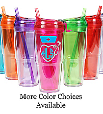 Nurse Monogram 22 oz. Double Wall Travel Tumbler with Straw #WA334010-2 *Choose Your Colors