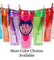 Bow with Pearls Monogram 22 oz. Double Wall Travel Tumbler with Straw #WA334010-2 *Choose Your Colors
