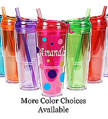 Sideways Name 22 oz. Double Wall Travel Tumbler with Straw #WA334010-2 *Choose Your Colors