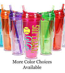 Softball 22 oz. Double Wall Travel Tumbler with Straw #WA334010-2 *Choose Your Colors