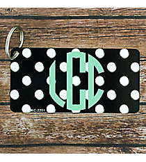 Black with White Polka Dots Metal Keychain #KC-2201