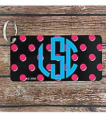 Black with Pink Polka Dots Metal Keychain #KC-2202