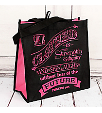 Proverbs 31:25 Black and Pink  Eco Tote #22733