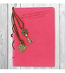 Proverbs 31:25 Pink Journal with Key Charm #22876