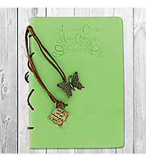 2 Corinthians 5:17 Green Journal with Butterfly Charm #22878