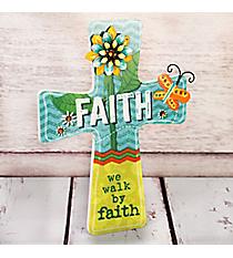 9 x 6.75 'Faith' Floral Cross Wall Decor #23028