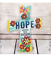 9 x 6.75 'Hope' Floral Cross Wall Decor #23029