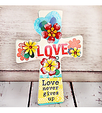 9 x 6.75 'Love' Floral Cross Wall Decor #23030