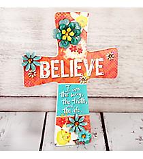 9 x 6.75 'Believe' Floral Cross Wall Decor #23031