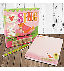 Ephesians 5:19 'Sing With All Your Heart' Memo Pad & Pen Gift Set #23106
