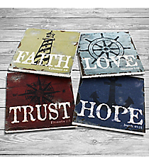 Set of 4 Nautical 'Faith Love Hope Trust' Coasters #23108