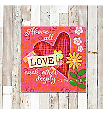 1 Peter 4:8 'Love Each Other Deeply' Canvas Magnet #23130