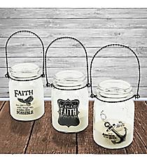 Set of 3 Anchor Eagle Faith Hanging Mason Jar Lanterns #23178