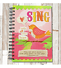 Ephesians 5:19 'Sing With All Your Heart' Spiral Bound Journal #23186side And Out' Spiral Bound Journal #23188