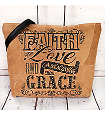 Faith Love and Amazing Grace Recycled Leather Shoulder Tote #23204